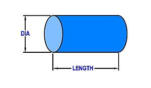 Drawing of a rod lens showing diameter and length